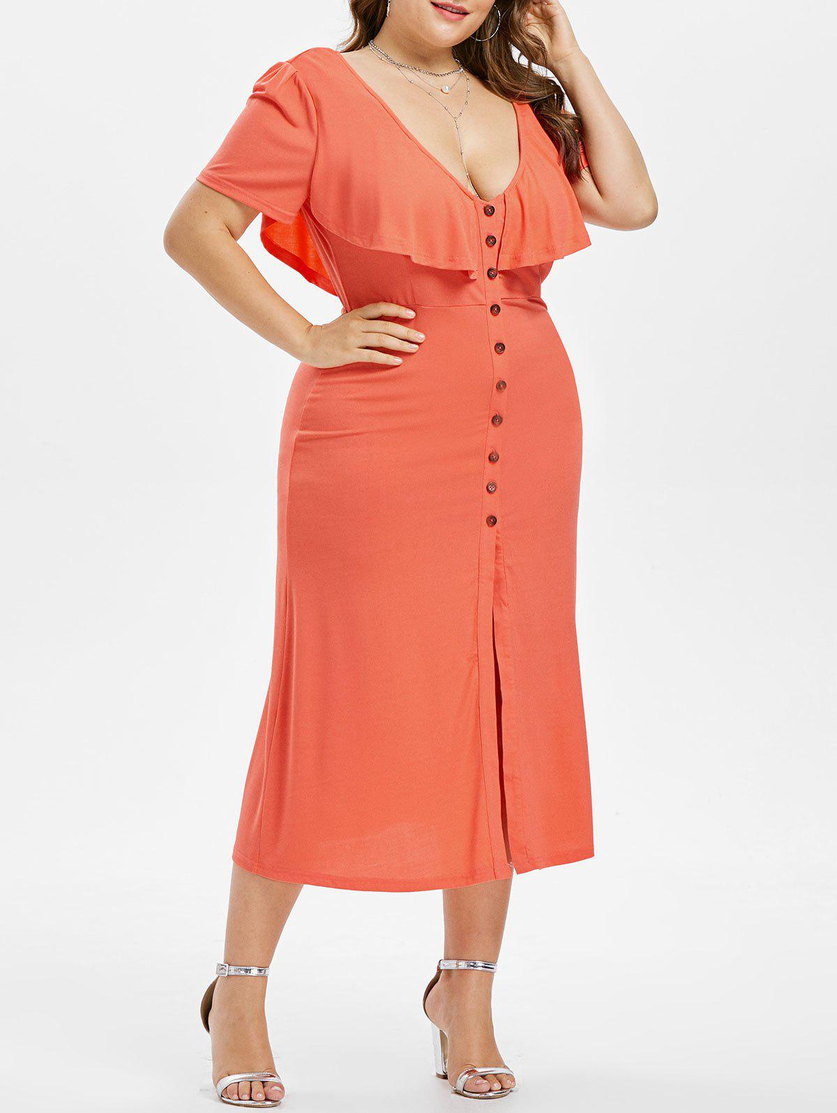 Store Plus Size Plunging Ruffle Dress