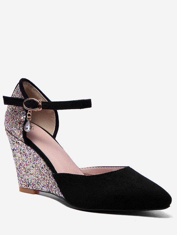 Discount Plus Size Pointed Toe Glitters Wedge Heel Pumps