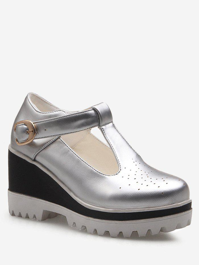 Shop Plus Size Hollow Out Casual Buckled Wedge Shoes