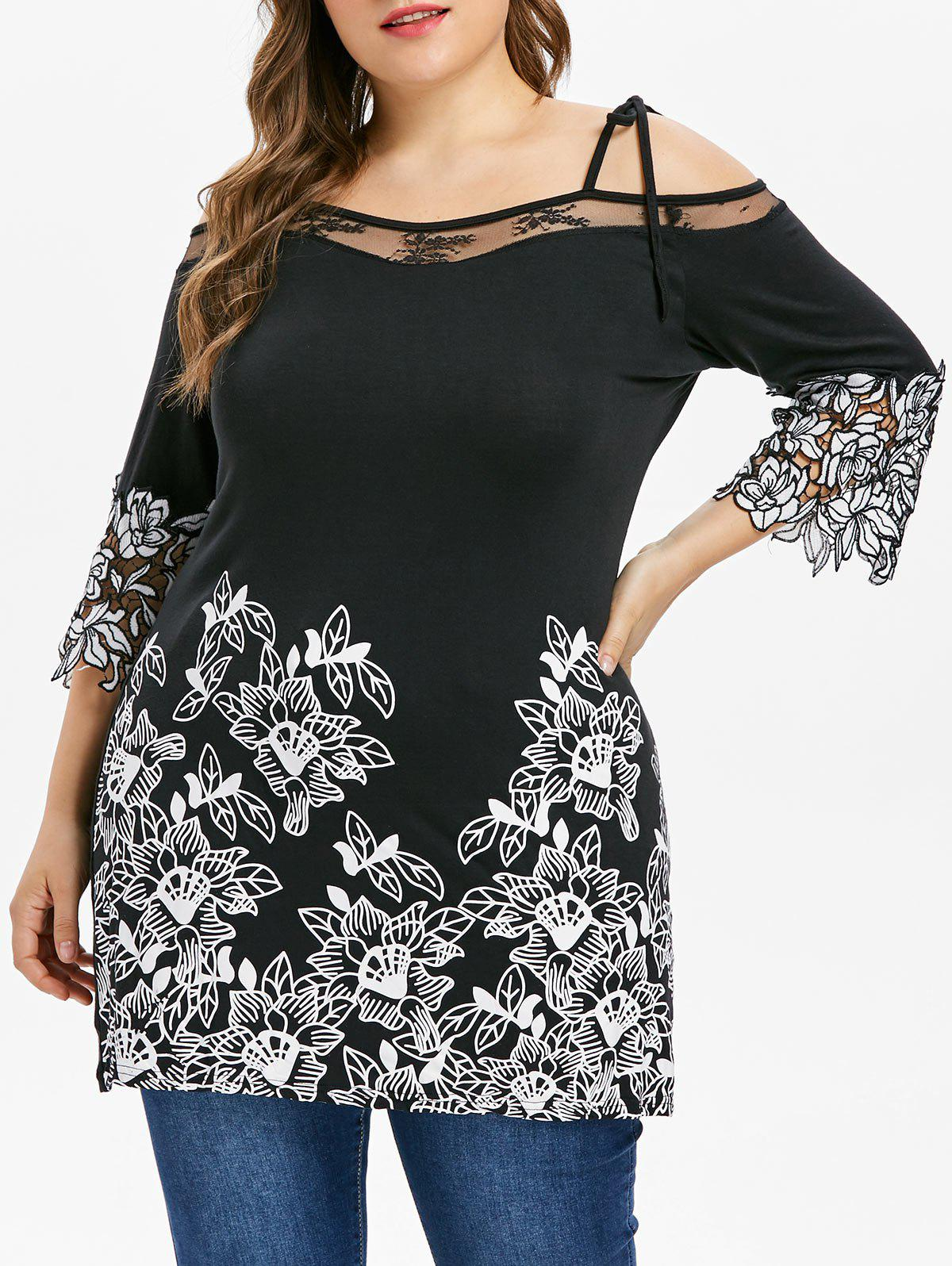 439a7bf28208f 52% OFF   2018 Plus Size Lace Applique Cold Shoulder T-shirt In ...