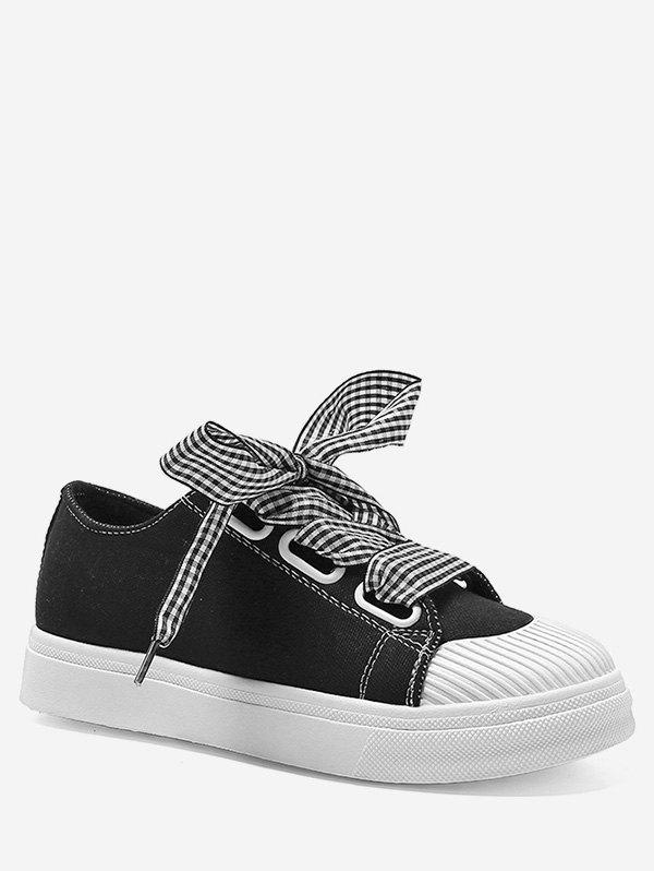 Fancy Low Heel Lace Up Plaid Strap Leisure Sneakers