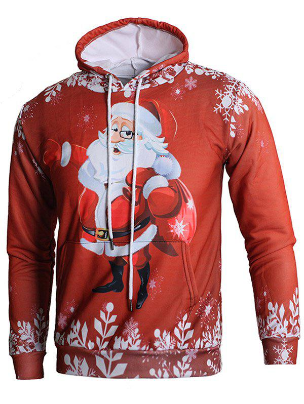 Trendy Long Sleeve 3D Santa Claus Print Kangaroo Pocket Hoodie