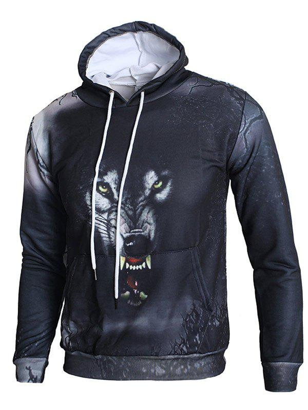 Fashion 3D Angry Wolf Print Pullover Hoodie