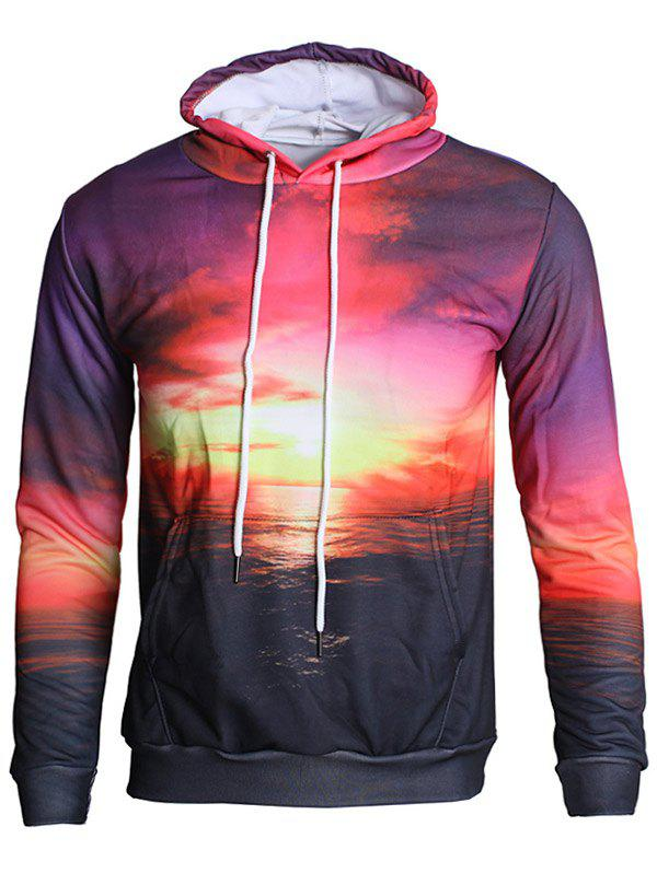 Affordable Drawstring Sunset Sea Print Hoodie