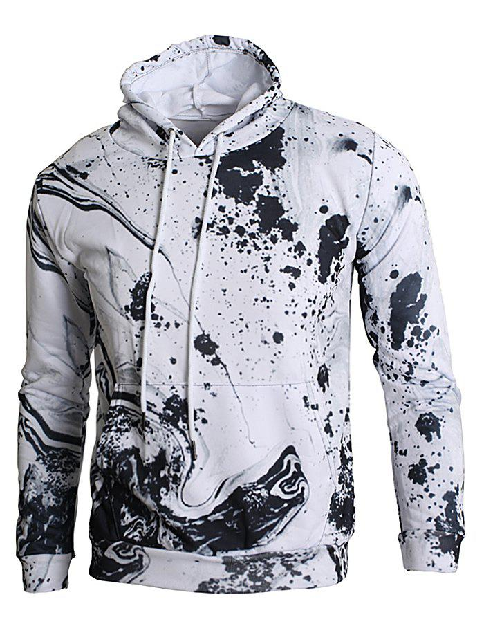 Hot Kangaroo Pocket Ink Splash Print Hoodie