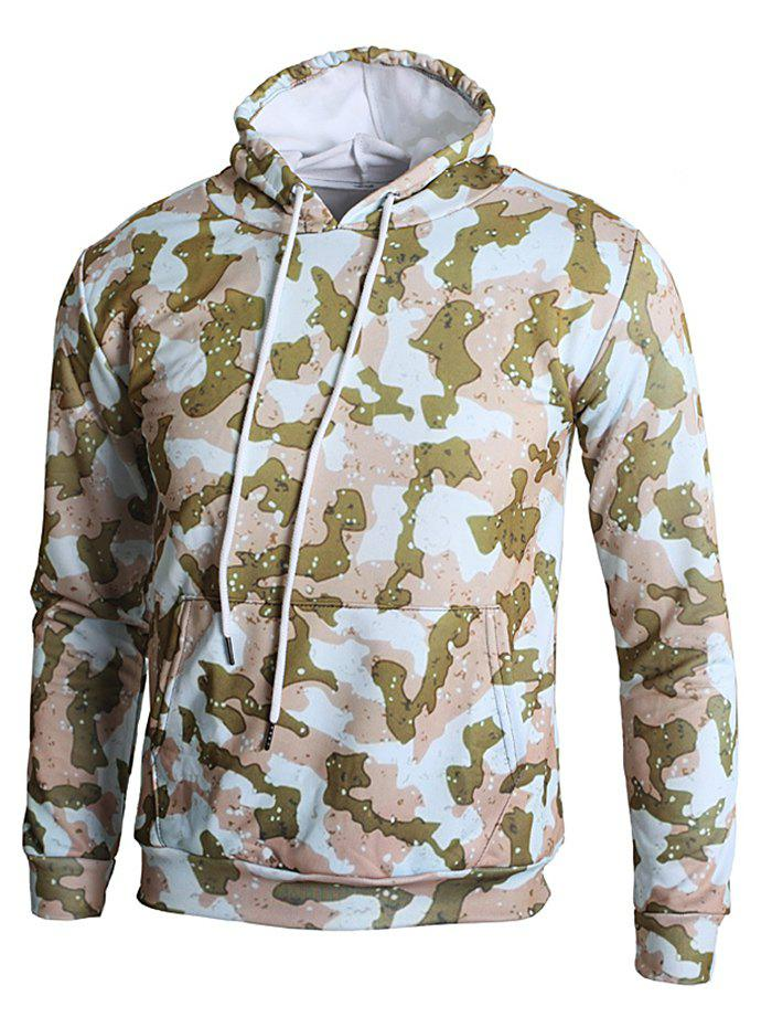 Affordable Camo Spot Print Kangaroo Pocket Casual Hoodie