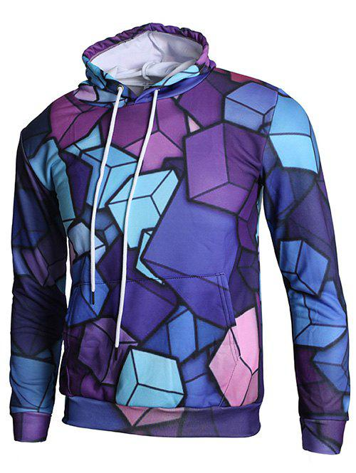 Outfit 3D Geometric Cubes Print Casual Hoodie