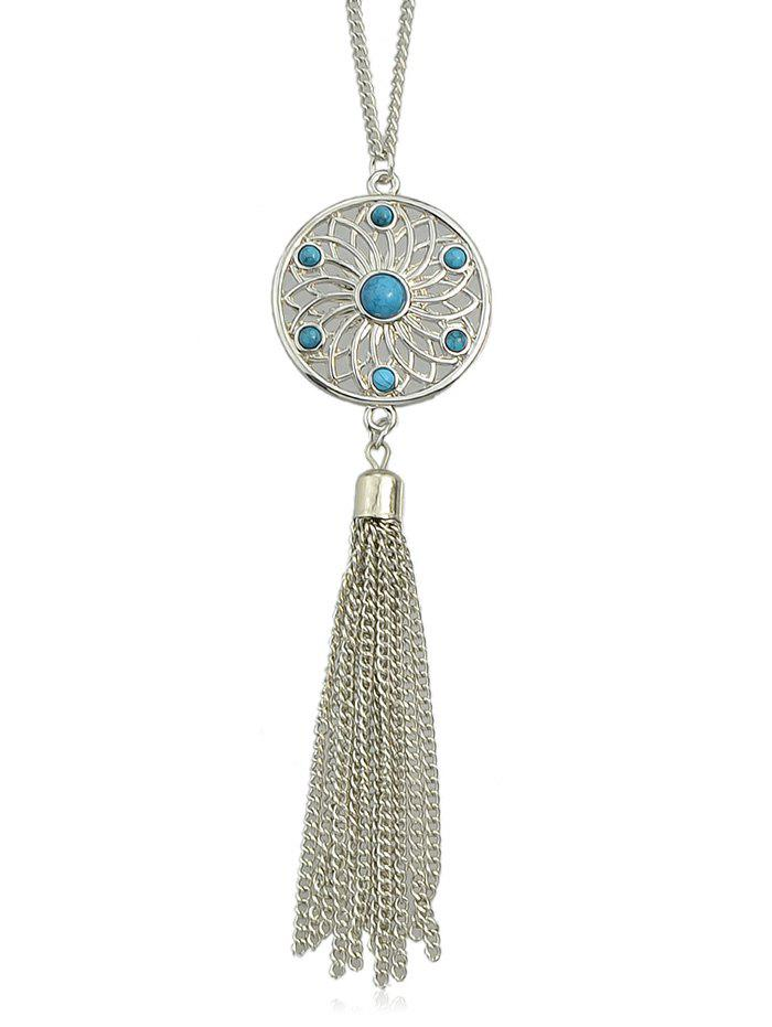 Cheap Faux Sapphire Tassels Chain Necklace