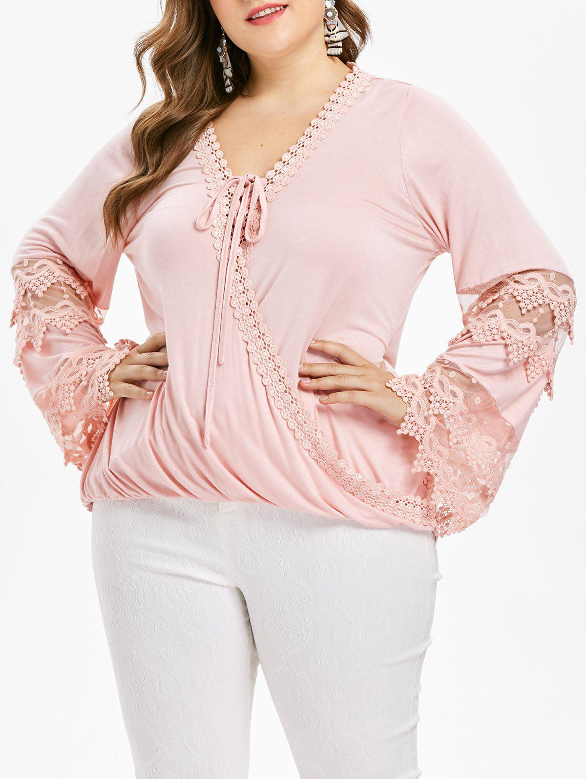 Fancy Rosegal Plus Size Applique Crochet Wrap Top