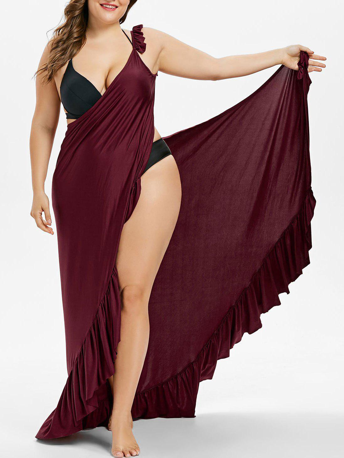 Fancy Plus Size Long Wrap Cover Up Dress