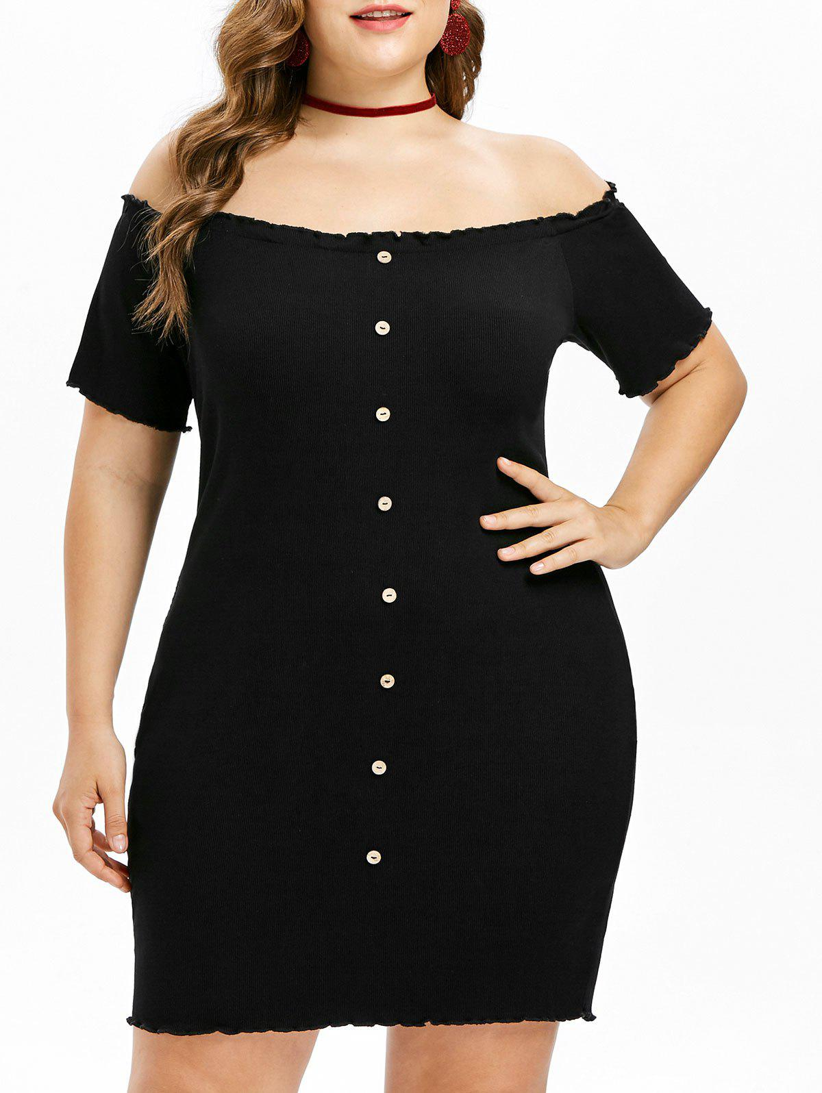Unique Plus Size Ribbed Off Shoulder Dress