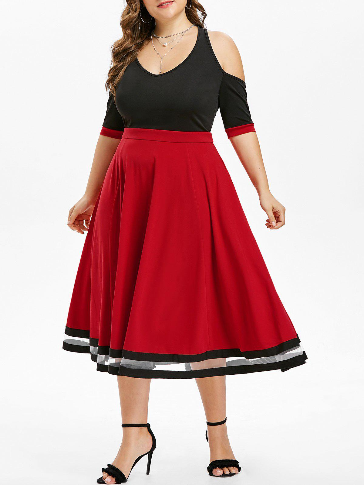 Outfits Plus Size Open Shoulder Two Tone Midi Flare Dress
