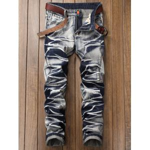 Tie Dye Zip Fly Straight Jeans -