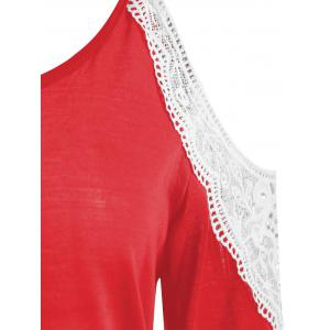 Scoop Neck Lace Panel T-shirt -
