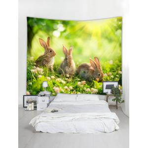 Wall Hanging Art Lawn Rabbits Print Tapestry -
