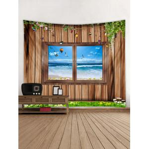 3D Wood Background Window Seaside Print Wall Tapestry -