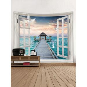Out of Window Sea Scenery Print Wall Hanging Tapestry -
