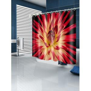 Blooming Flower Print Waterproof Bathroom Shower Curtain -