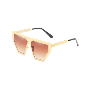 Unique Metal Frame Irregular Sun Shades Sunglasses -