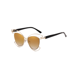 Novelty Metal Hollow Out Frame Catty Sunglasses -