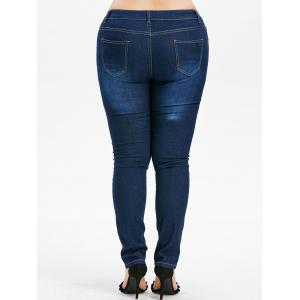 High Waist Plus Size Ripped Jeans -