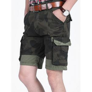 Camouflage Pattern Patchwork Pockets Cargo Shorts -