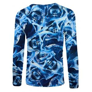 3D Allover Skulls Print Casual T-shirt -