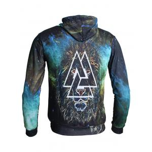 Sweat à Capuche Pull-over Lion et Triangle Imprimés -