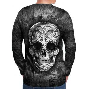 Flower Skull Print Round Neck T-shirt -