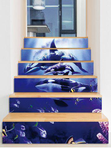 Fancy Dolphin Fishes Decorative Stair Stickers