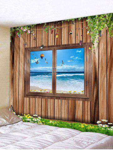 Store 3D Wood Background Window Seaside Print Wall Tapestry