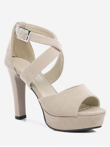 Manchester Cheap Online Plus Size Peep Toe Crisscross Ankle Wrap Sandals - BEIGE Cheap Choice Sale Comfortable Fju6AomU