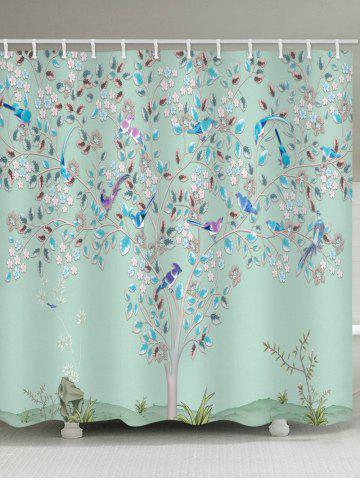 Best Floral Tree Birds Print Waterproof Bathroom Shower Curtain