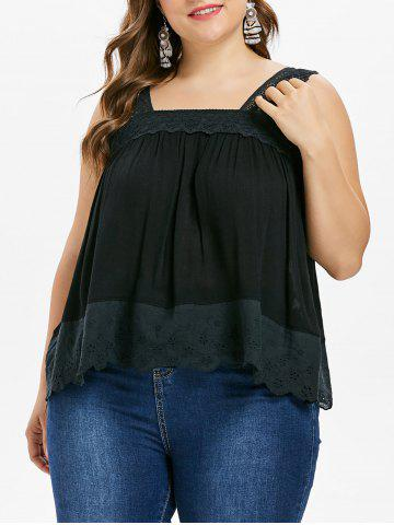 Chic Crochet Insert Square Neck Plus Size Tank Top
