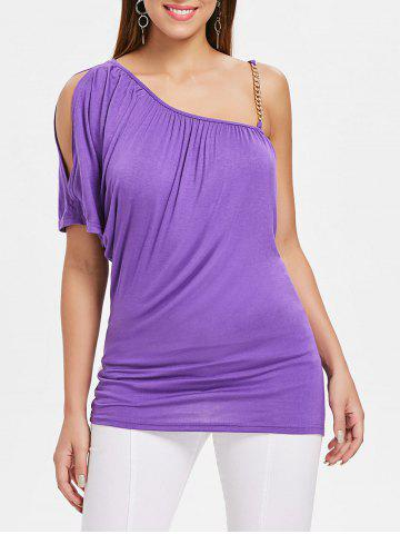 Fancy Alloy Chain Strap Ruched T-shirt