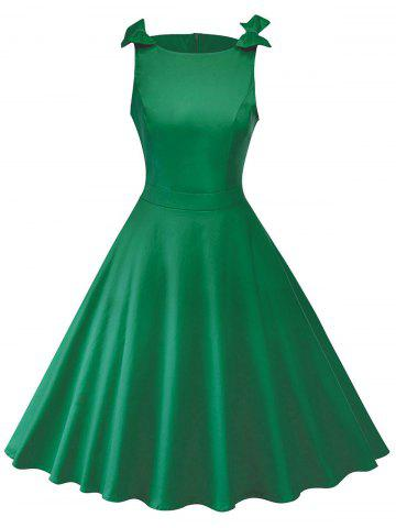 Affordable Bowknot Insert Sleeveless Vintage Dress