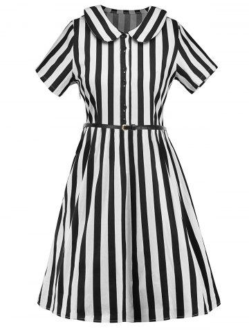 Unique Belted Striped Peter Pan Neck Dress