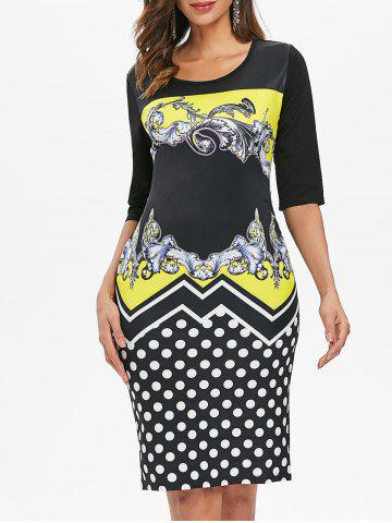 Sale Baroque Print Dotted Sheath Dress