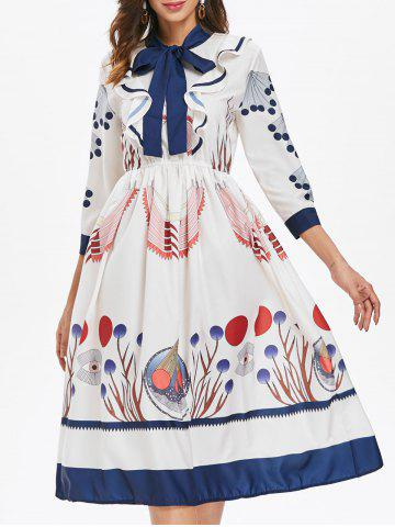 Store Bowknot Neck Printed Fit and Flare Dress