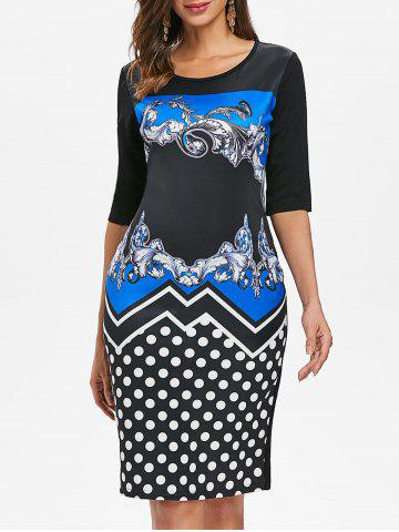Affordable Baroque Print Dotted Sheath Dress