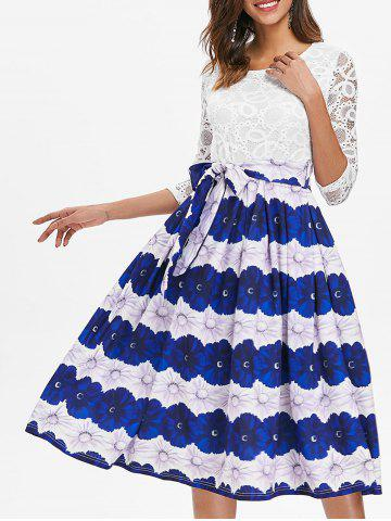 Affordable Lace Insert Floral A Line Dress