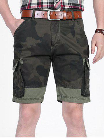 Store Camouflage Pattern Patchwork Pockets Cargo Shorts