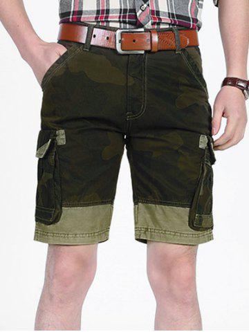 Chic Camouflage Pattern Patchwork Pockets Cargo Shorts
