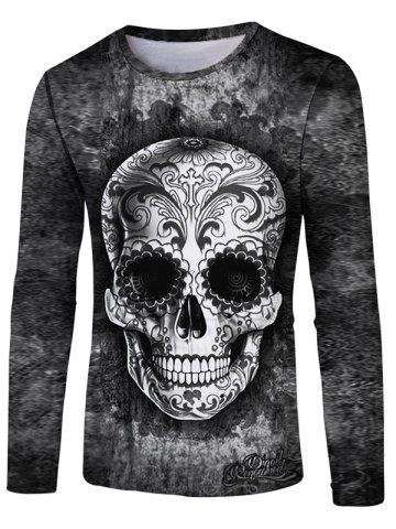 Sale Flower Skull Print Round Neck T-shirt