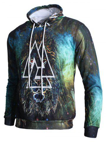 Sweat à Capuche Pull-over Lion et Triangle Imprimés