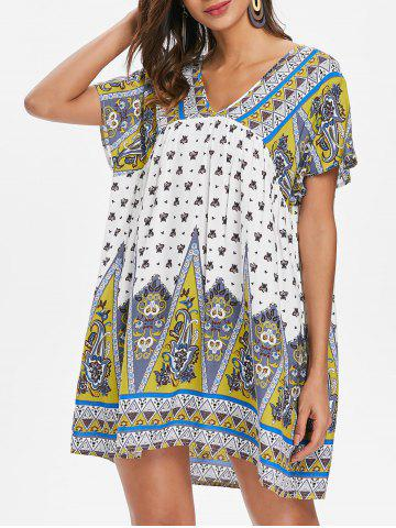 Unique Ethnic Print Short Smock Dress