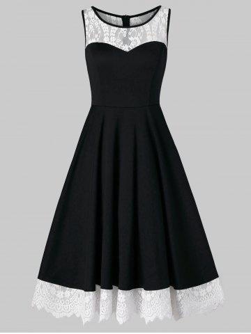 Discount Lace Trim Sleeveless Vintage Dress