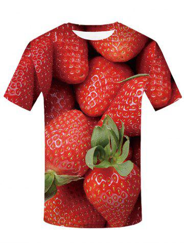 Shops 3D Strawberry Print Casual T-shirt