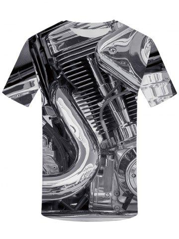 Sale 3D Motor Heavy Metal Print Round Neck T-shirt