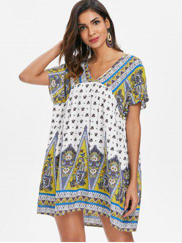 Ethnic Print Short Smock Dress